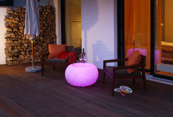 Bubble Granite OUTDOOR LED RGB Mulitcolor E27 Hocker Beistelltisch Moree